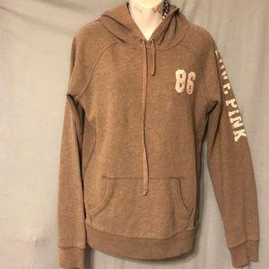 Pink victoria secret hoodie size L light brown